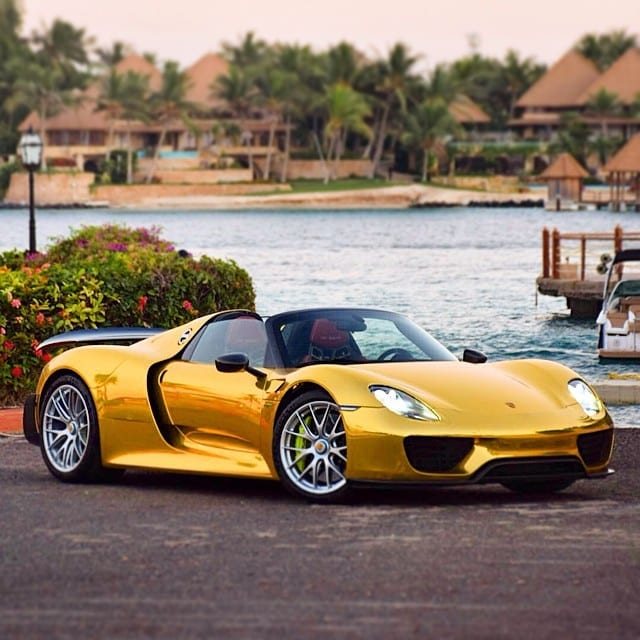 First Gold Porsche 918 Spyder Autofluence
