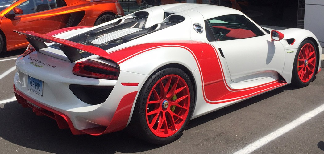 unique red and white porsche 918 spyder at miller motorcars - Porsche 918 Spyder White
