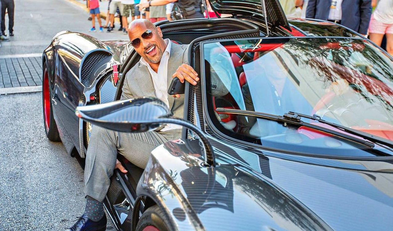 """The Rock Arrives to """"Ballers"""" Premiere in Custom Pagani Huayra"""